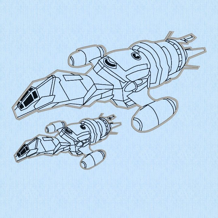 Firefly Serenity Ship APPLIQUE Machine Embroidery Design File in two sizes by lynellen on Etsy https://www.etsy.com/listing/231437862/firefly-serenity-ship-applique-machine