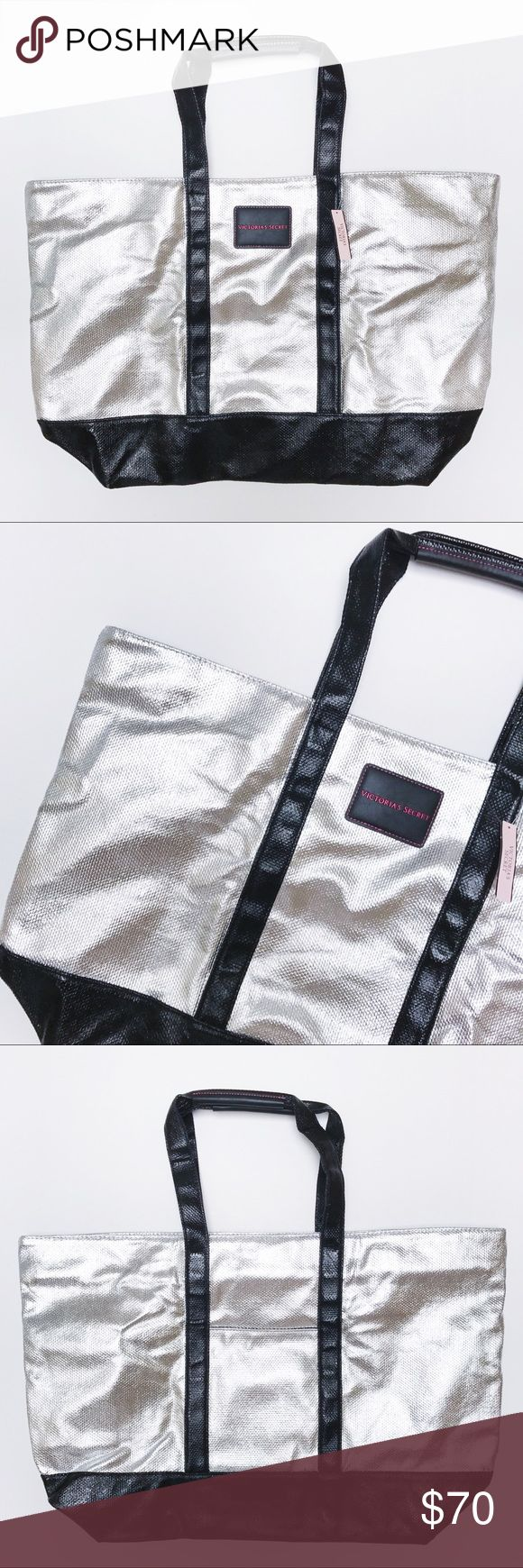 Victoria's Secret - Silver Tote Bag Victoria's Secret silver tote bag with black strap detail. Logo at front. Slip pocket at back. New with tags. 💟 Offers welcome. 🙅🏻 No trades. 🎀 Bundle for discount. Victoria's Secret Bags Totes