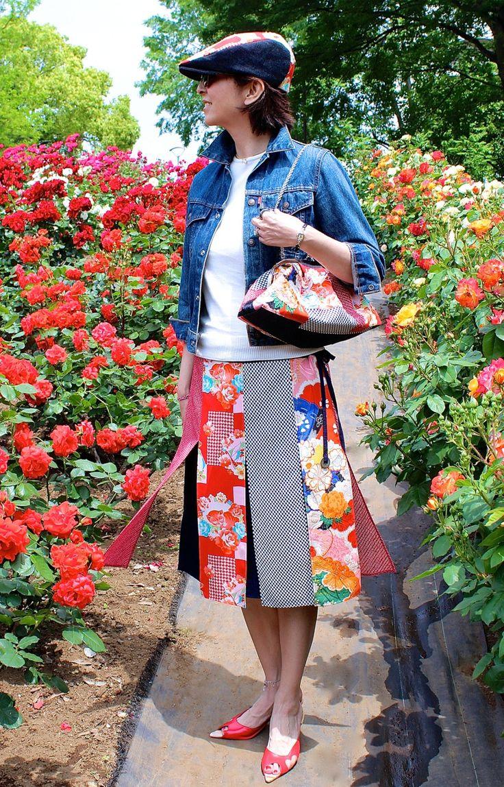 「MONROE4号」・薔薇に眠り猫桜牡丹帆船檜扇鳥模様 | MONROE | Shop