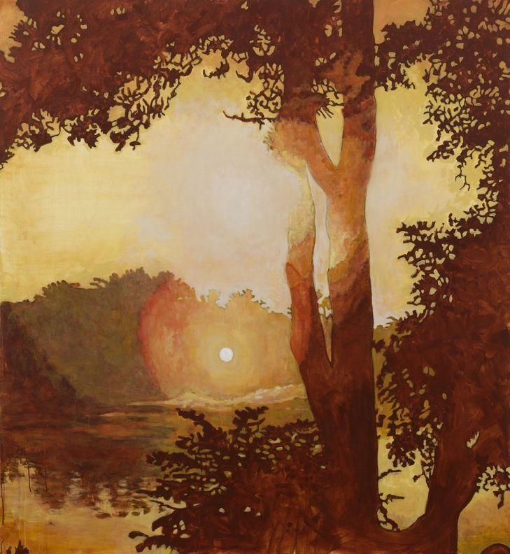 "Prospect Park Lake 2015 acrylic on canvas 65"" x 60"""