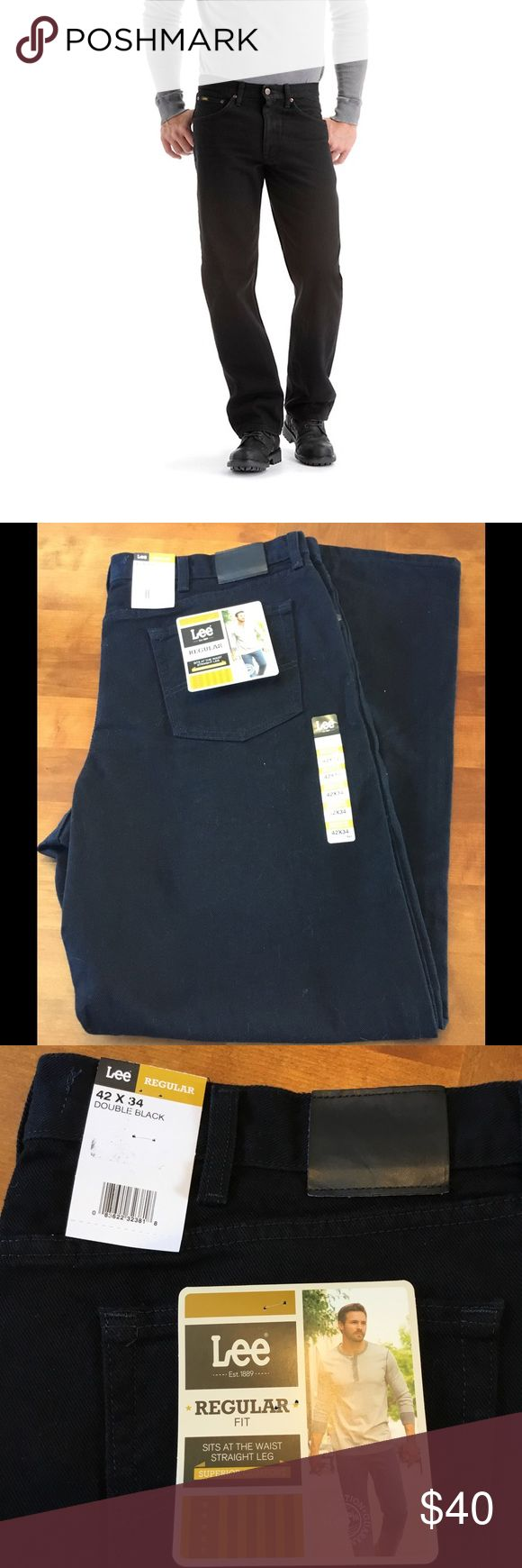 MENS black lee jeans 42 x 34 regular fit tall Regular fit straight leg jeans black. SIZE 42x34. Best selling Lee jeans. Superior comfort. Sits at the waist and is straight through the seat thigh and leg. Durable heavy weight denim. BRAND NEW WITH TAGS Lee Jeans Straight