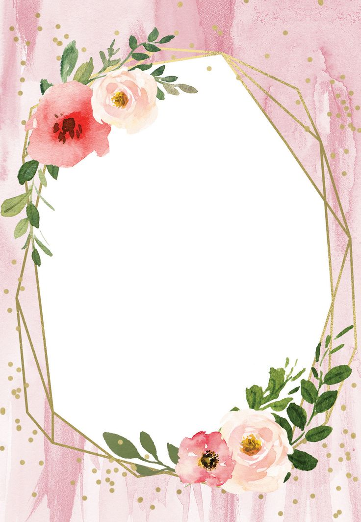polygonal frame and blush flowers