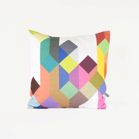 As seen on Apartment Therapy  Pastel Geometric Pillow by Nirwa