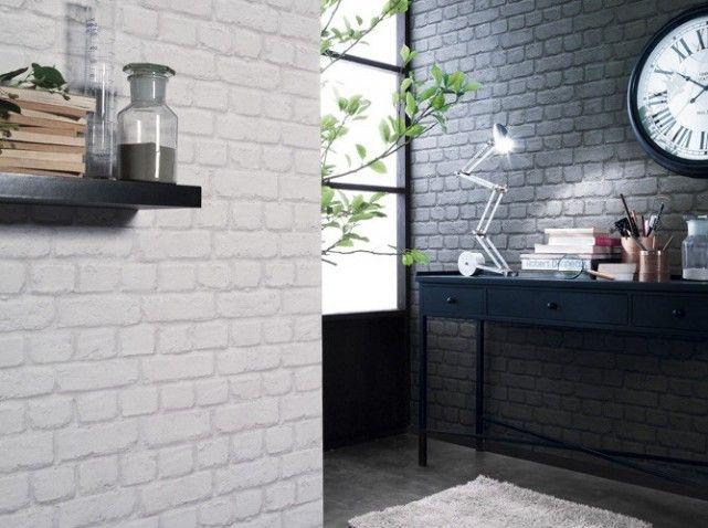 Les 25 meilleures id es concernant papier peint brique sur pinterest murs e - Mur imitation brique blanche ...