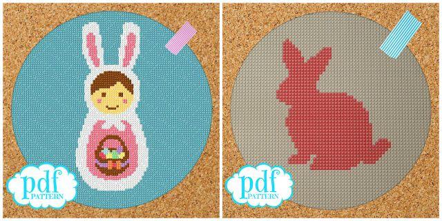 cupcake cutie: Free Easter Bunny cross stitch patterns