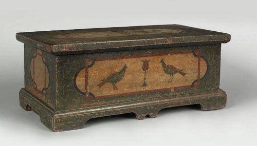 Berks County, Pennsylvania miniature painted poplar marriage chest c. 1765