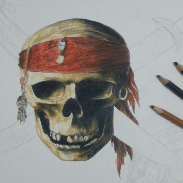 Pirates of the Caribbean skull drawing   #skull #pirates #arr