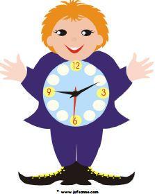 tijdmannetje: de kinderen stempelen de onrbrekende cijfers op de klok