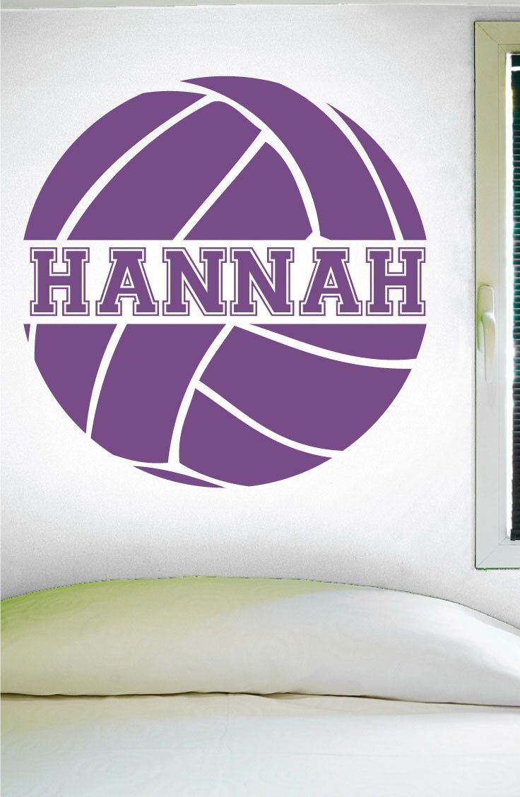 "Custom Volleyball Wall Decal - 0058 -- PRODUCT NO. 0058 -- -- When checking out, please type the name you want for your decal in the ""Phone optional"" tab when you fill out your contact information. I"