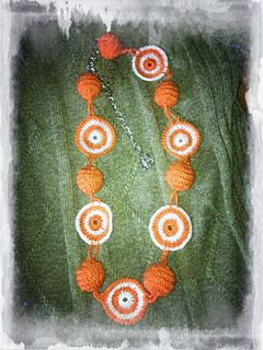 Crochet orange and white woman's necklace