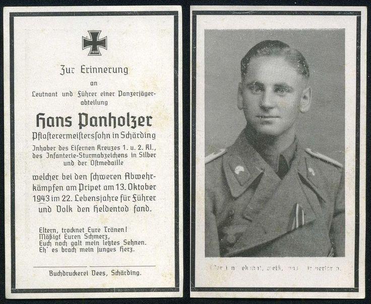orig. WK2 STERBEBILD - DEATH CARD - OFFIZIER PANZER JÄGER - Prypjat Sümpfe 1943