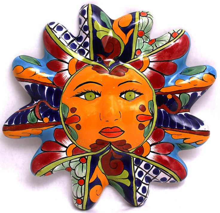 "TALAVERA SUN FACE HAND PAINTED MEASURES 10"" MADE IN MEXICO (SIZE AND COLOR MAY VARY) ITEM THAT YOU SEE IN PICTURE IS THE ONE YOU WILL RECEIVE WHEN I SAY SIZE AND COLOR MAY VARY,COLORS IN PICTURES MIGH"