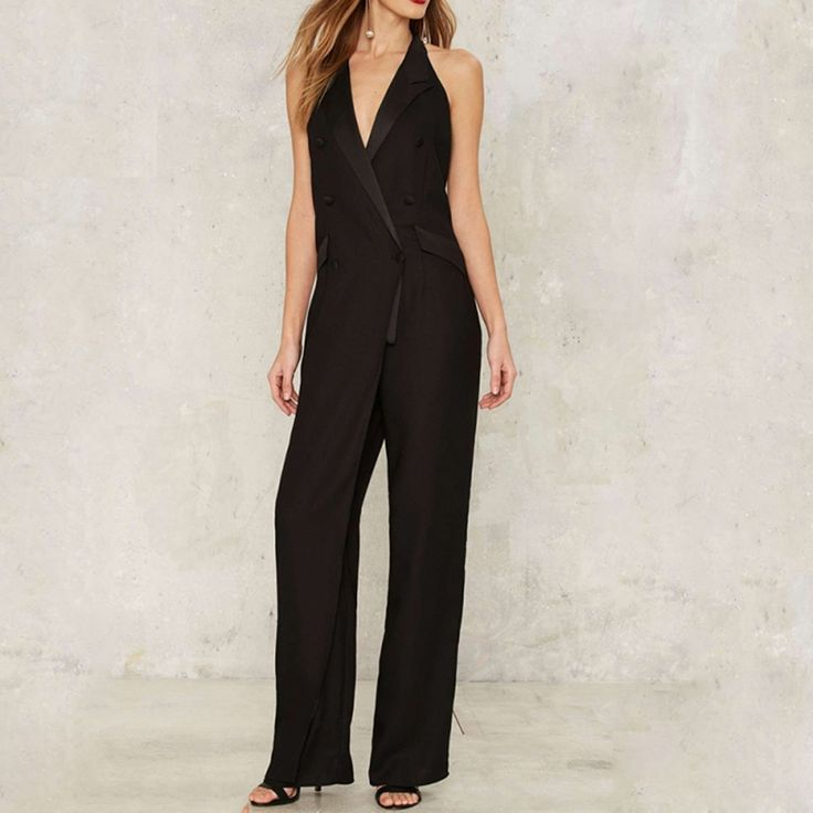 Cheap bodysuit plus, Buy Quality summer rompers womens jumpsuit directly from China rompers womens jumpsuit Suppliers: Summer Rompers Womens Jumpsuit 2017 Hot Black Notched Collar Playsuits Backless Halter Ladies Elegant Plus Size XXL Bodysuits