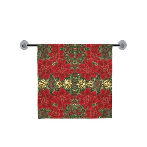 """Red & Gold Poinsettia Pattern Bath Towel 30""""x56"""" l Available in 3 sizes."""