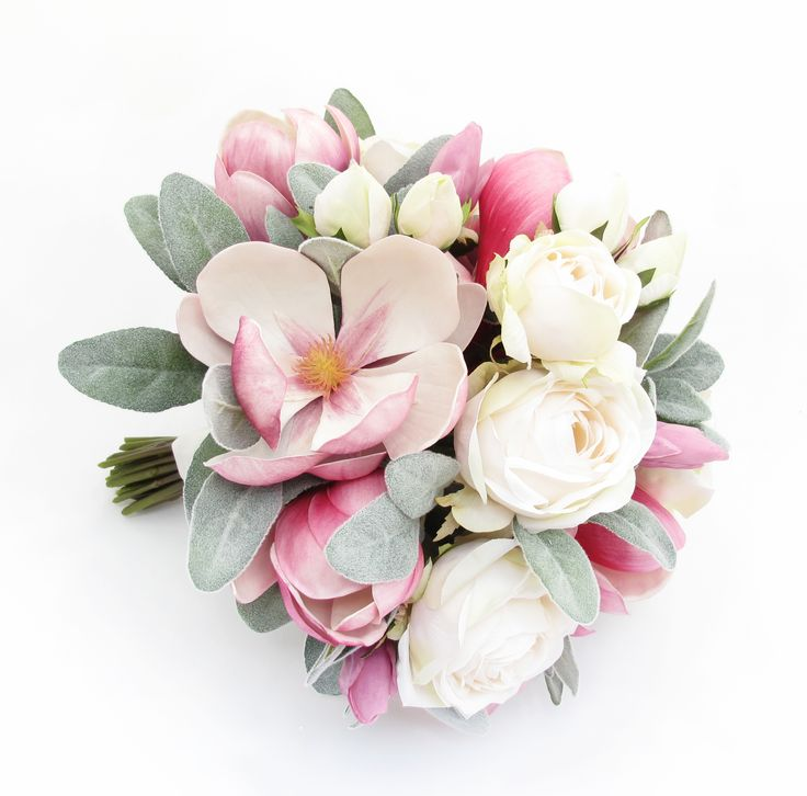 A large posy of mauve magnolias, champagne Paris roses and lamb's ears.