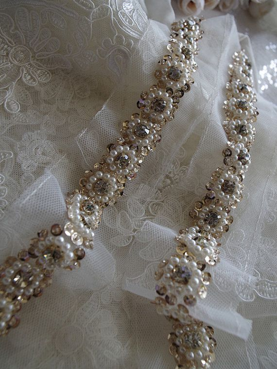 beaded Trim, bridal sash trim, jewelry trim, pearl beading trim, rhinestone trim, luxury trim This amazing trim is specially for bridal gown, wedding dress, bridal veil. Super gorgeous trim with pearl trim, vintage style. Highly recommended for all brides!!!