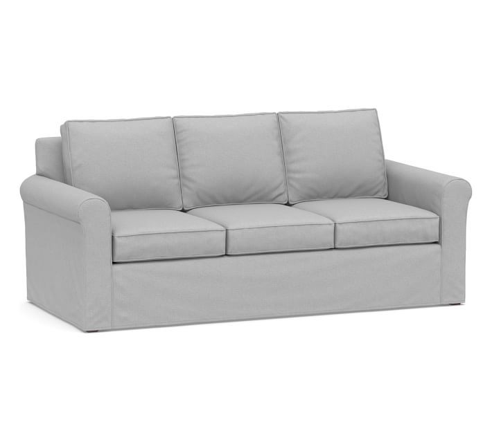 Cameron Roll Arm Deep Seat Slipcovered Fabric Sofa   Pottery Barn in 2021   Furniture slipcovers ...