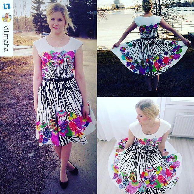In love with this beautiful dress made using Vallila's Vappukukka Multi Fabric