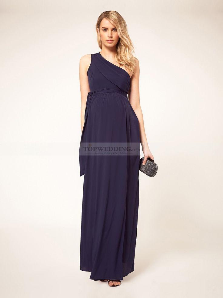 One Shoulder Chiffon Floor Length Maternity Dress