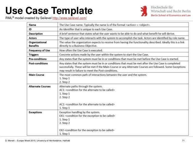 Use Case Template Use Case Templates Business Analysis