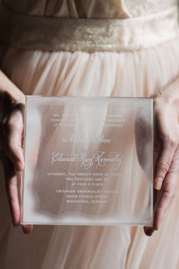glass wedding invitation - photo by Rodeo and Co Photography http://ruffledblog.com/ice-castle-wedding-inspiration