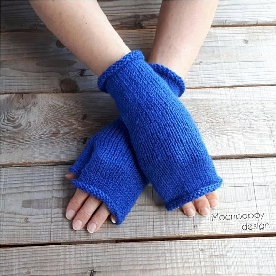 Hand knit fingerless gloves, Arm warmers, Gift for her, Mittens, Hand Knitted, Eco Friendly