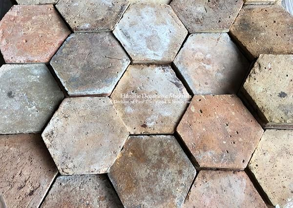 The French Reclaimed Hexagon Terra Cotta Tile Exudes An Historic