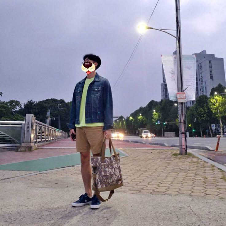 "489 Likes, 34 Comments - Hyun Dong Park (@happy_harry_p) on Instagram: ""#20170919 졸린 아침이네요 ✈ - - jacket #y3 top #beslow pants #uniqlo shoes #converse bag #converse"""