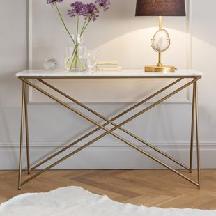 Stellar White Marble U0026 Brass Coated Metal Base Console Table From Atkin U0026  Thyme.