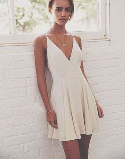 Simple A-Line V-Neck Spaghetti Straps Short Homecoming/Prom Dresses from prom dress