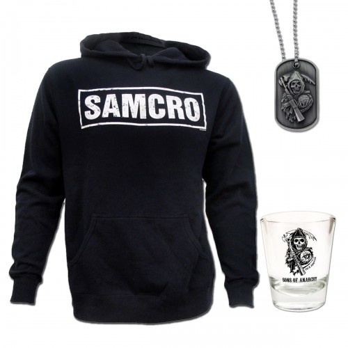 Sons of Anarchy Men's SAMCRO Hoodie with Reaper Shot Glass and Dog Tag