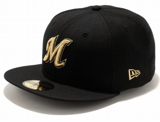 Chiba Lotte Marines Black Gold 59Fifty Fitted Cap by NEW ERA x NPB