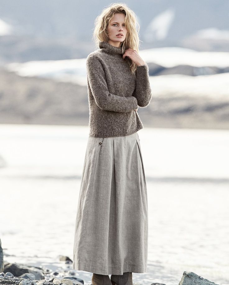 Poetry - Linen cotton and wool blend skirt: LAND OF FIRE AND ICE Collection