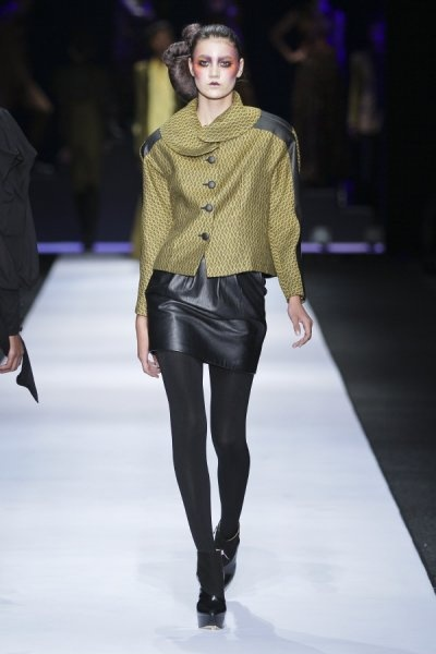 #DTCouture. Black leather mini with this olive coat is gorgeous!