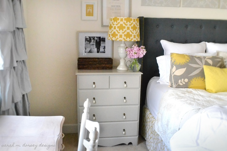 sw anew gray painted dresser Dresser next to bed Dark grey headboard