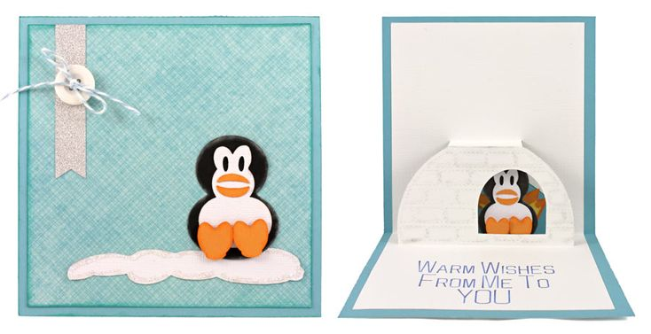 Pop-up penguin in an igloo sending you warm wishes! Get eight pop-up cards with WPC, AI, and SVG cutting files for just $5.95!