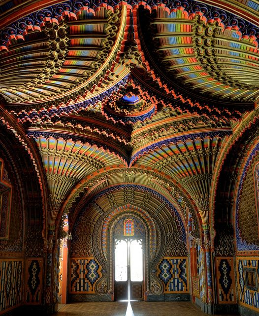 The Peacock Room at Castello di Sammezzano in Reggello, Tuscany, Italy. Atop