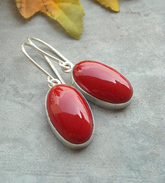 Red Coral earrings  Sterling silver gemstone by Studio1980 on Etsy