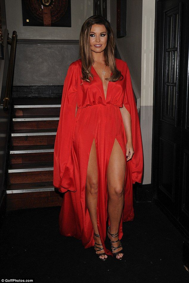 Femme fatale: Jessica Wright was daring in a double side split dress and plunging neckline on Wednesday night as she stepped out for Michael Hassini's 007 birthday bash, hosted inside Sugar Hut