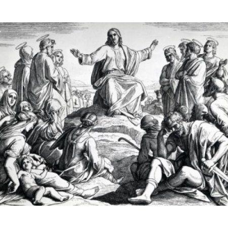 Bergpredigt von Julius Schnorr von Carolsfeld print (1794-1872) Leinwandbild – …   – Gravuras bíblicas
