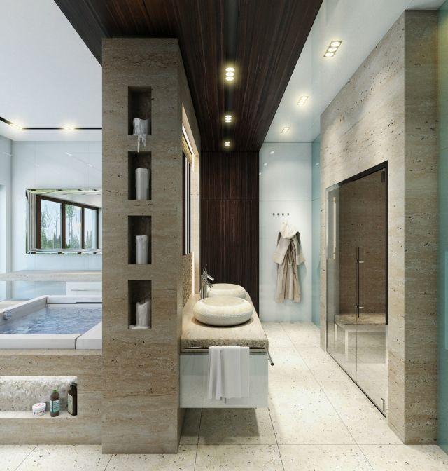une salle de bain design en bois et pierre naturelle