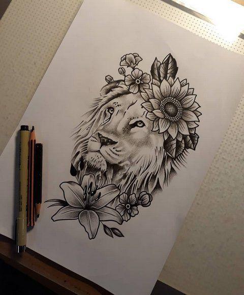 Zeichnung eines Löwen mit einer Blume   – Tattoos – #Blume #einer #eines #Löwe…