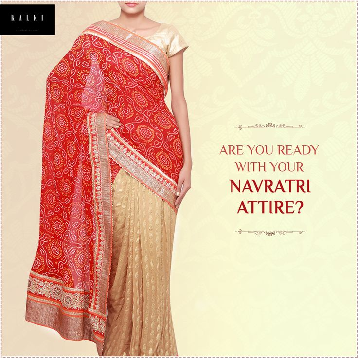 Dress up in this beautiful outfit for the Navratri season. Get it here: http://bit.ly/KalkiRedSaree