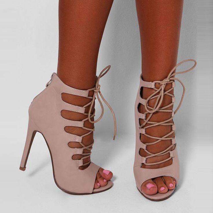 Shoespie Apricot Lace Up Peep Toe Stiletto Heels