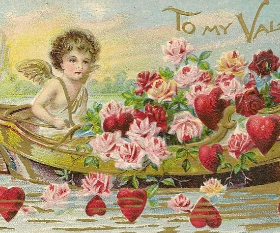 Cupid in Boat Loaded with Roses and Hearts Unused Antique