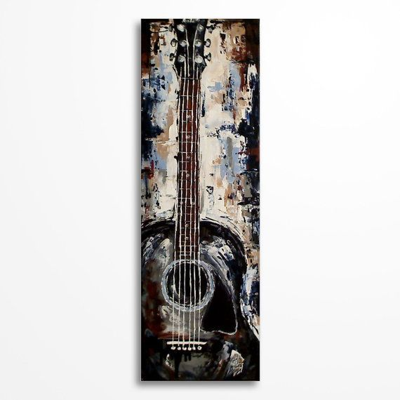 Guitar painting Guitar art Gift for a musician by MagdaMagier