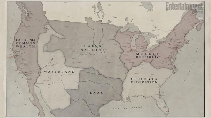 Revolution - a map of North America 15 years after the blackout. Texas makes me laugh. And I don't understand why the pendents weren't spread out across the republics.