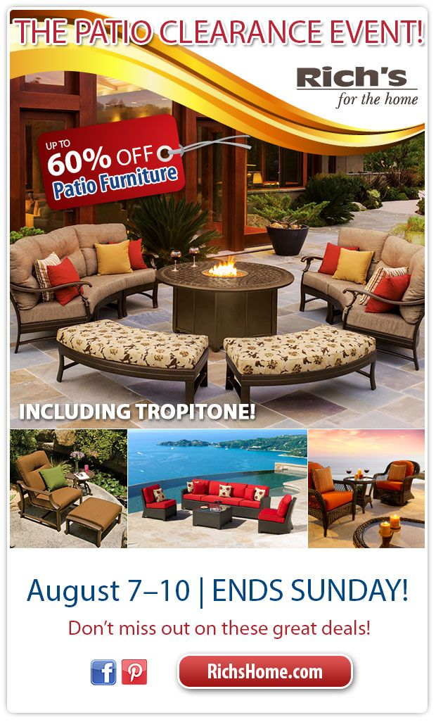 Patio Clearance Event At Richu0027s For The Home: Save Up To 60% Off Patio