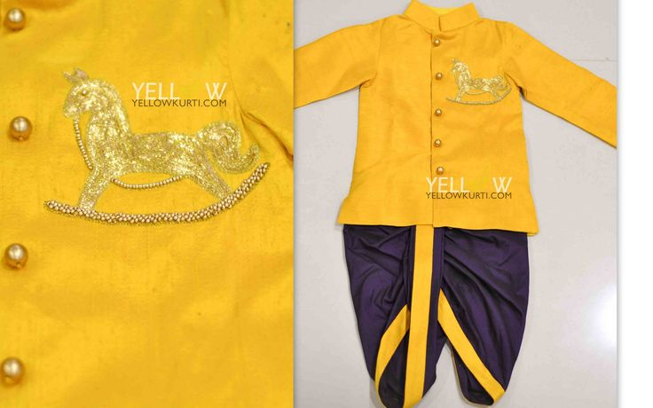 Kids partywear kurta and dhoti. Colors and sizes can be customised as per your choice Kindly write to us teamyellow@yellowkurti.com18 February 2017
