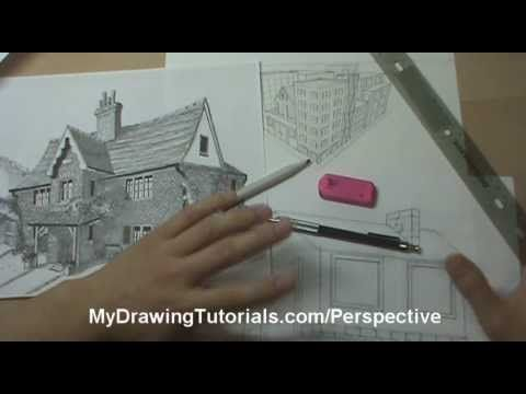 Architecture Tutorial - Linear Perspective Drawing Lesson 1/6 -Introduction To Drawing Perspective In Art 4:00 - MyDrawingTutorials.com - YouTube